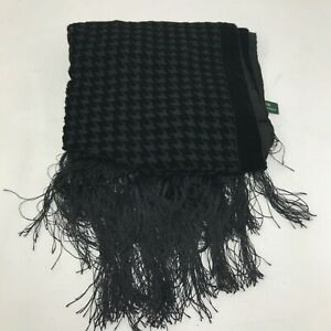 Ralph Lauren Houndstooth Check Silk Blend Scarf Black Tasselled Rectangle 181345