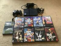 Sony PlayStation 2 Slim Black Gaming Console SCPH-75001 W/9 Games  & 32MB Memory