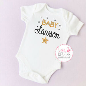 Personalised Unisex Stars Baby Vest - Bodysuit - Embroidered Baby Announcement