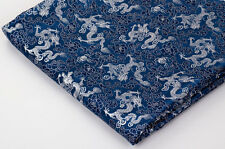 BY 100cm CHINESE RETRO DAMASK JACQUARD BROCADE FABRIC : DRAGON QING HUA BLUE =