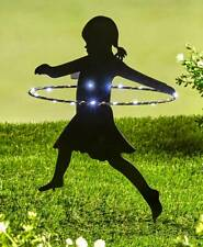 Solar Lighted Little Girl Hula-Hooping Shadow Silhouette Garden Stake