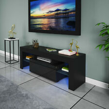 """51"""" High Gloss TV Stand Cabinet Console Unit Furniture Table LED Shelve W/Drawer"""