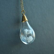 White Blossom Babysbreath Real Flower Waterdrop Pendant 18k Gold Plated Necklace
