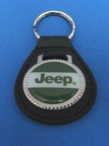 JEEP LEATHER KEYCHAIN KEY CHAIN RING FOB #152 GREEN