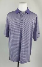 Footjoy Mens Large L Polo Golf Shirt Purple White Horizontal Stripe Course Logo