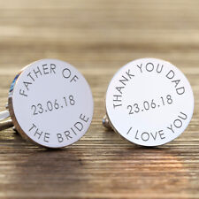 Personalised Silver Finish Father of the Bride Wedding Date Cufflink Dad Gifts
