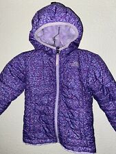 The North Face Purple Speckled Hooded Girls Snow Jacket Faux Fur Lining