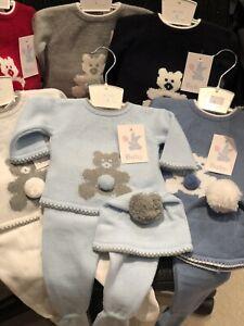 Spanish Knitted Baby Romper Hat Newborn 0-3 3-6 6-12 Mth Blue Red Grey Bear Soft