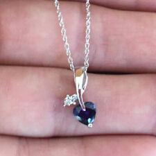 10k White Gold Blue Sapphire Heart Diamond Pendant Necklace