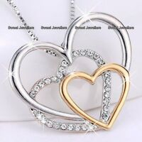GIFTS FOR HER Rose Gold & Silver Crystal Heart Necklace Xmas Mum Daughter Women