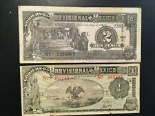 MEXICO  (2 Notes)  1 and 2 Pesos  1916  -- Provisional
