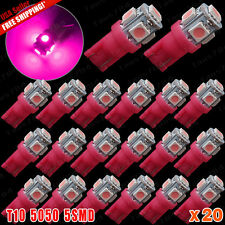 20X PINK T10 5-SMD 5050 LED Interior Dome Map Light bulbs W5W 2825 158 192 194