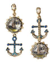 Betsey Johnson Ship Shape SailBoat Anchor Mismatch Earrings  $45NWT