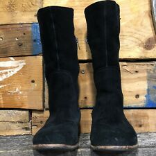 Ugg's Australia Annisa Black  Suede Leather Boots Mid California Womens Sz 6