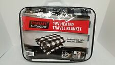 Treksafe Automotive 12V Heated Travel Blanket Black and White Checks, NEW