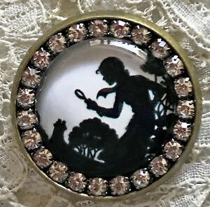 NANCY DREW Glass Rhinestone BROOCH Lapel Scatter Pin Vintage Silhouette Book