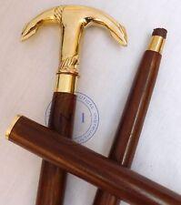 Nautical Victorian Brass Ship Anchor Handle Walking Canes Stick Wooden Stick