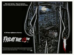 "FRIDAY THE 13TH 1980 repro custom US art quad poster 30x40"" 80s slasher FREE P&P"