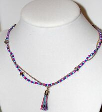 Rachel Roy Gold Tone Chain Necklace- Crystal, Pink & Blue Beads & a Tassel