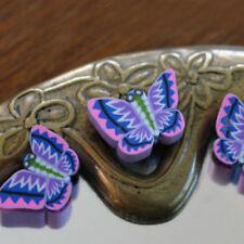 3 Perles FIMO POLYMÈRE - PAPILLONS  X Coloris  - 8/12 mm