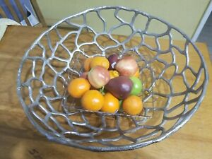 Large Silver Metal Decorative Accent Bowl