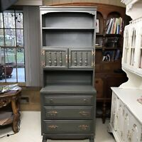 Sumpter Cabinet Co. Flat Olive Green Tall China Hutch with Gold Hardware Narrow