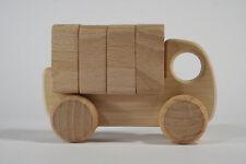 LKW mit Ladung natur unbehandelt klein BAJO Holzauto Holzspielzeug Greifling