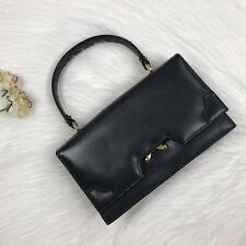 Vintage AREITIO Handbag Purse Click Open Black Kelly Bag Gold Hardware
