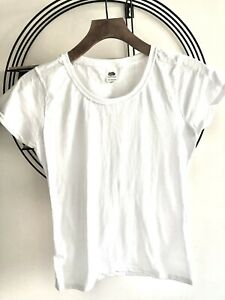 BNWOT Ladies Fruit of the Loom White T Shirt Cotton Fitted Cap Sleeve Sz XS