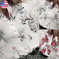 Womens Floral Print Buttons Tops T Shirt Ladies Casual OL Long Sleeve Blouse US