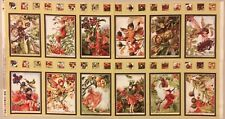 AUTUMN FLOWER FAIRIES Red Yellow Brown 12 Floral Fairy Blocks 23 in Fabric PANEL