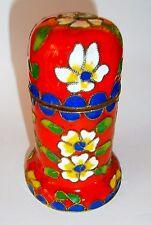 Vintage Asian Cloisonne Handwork Enamel Flowers Trinket Toothpick Box