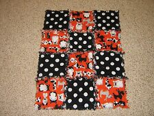 Puppies & Polka Dots hand made dog puppy crate kennel rag quilt blanket New