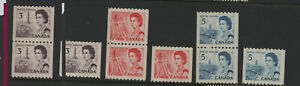Canada #466, #467 & #468 MNH Singles & coil Pairs on Fluorescent paper