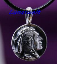 Indianerschmuck Silberanhänger - Amulett mit Indianerkopf