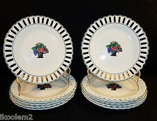 "10 Wedgwood Etruria 9"" Plates, Fruit / Flower Basket, Reticulated Rim, ca. 1924"