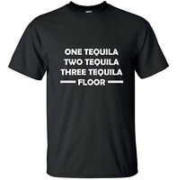One Tequila, two tequila.. - Funny Adult T-Shirt Black Drinking Custom