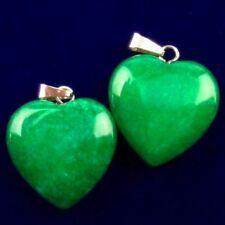 2Pcs 20x20x6mm Interesting Green Jade Heart Pendant Bead X74535
