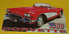 1960 Corvette Convertible 2-Door Car-Shaped Postcard! Nice SEE!