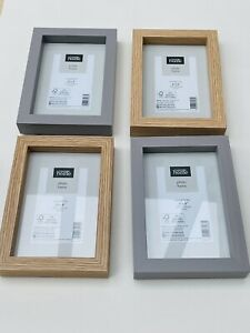 "NEW Set Of 4 6x4"" BOXED Picture Frames 2x Grey 2 Wood Effect Frame 15x10cm Photo"