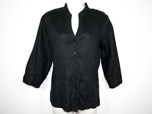 Covington Black Linen Blouse Sz S EUC