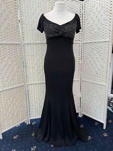 Women's sara BernShaw  black long maxi Evening bead detail gown dress size 14