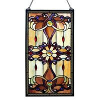 """Stained Glass Vintage Victorian Design Tiffany Style Window Panel  15"""" W x 26"""" T"""