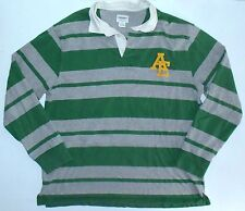 Mens L American Eagle Outfitters AEO LS Rugby Shirt Green Grey Stripes