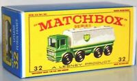 Matchbox Lesney No 32 Leyland Petrol TankerTruck empty Repro E style Box