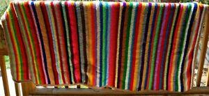 Beautiful Vintage Striped Multicolored Afghan 76x106 Handmade It's Huge!