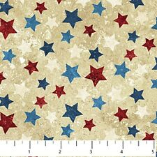 BY 1/2 YD~STONEHENGE STARS STRIPES~NORTHCOTT FABRIC~RED BLUE STARS ON TAN~20159