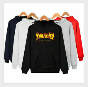 Men's Hoodie Sweater Hip Hop Skateboard Thrasher Sweatshirt Pullover