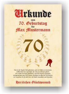Geschenk 70. Geburtstag Urkunde mit Name Geburtstagsdeko Mann Frau Bild Karte