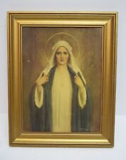 """+ Older Framed Picture of Mary The Blessed Mother 14 5/8"""" x 11 5/8"""" (CU#334)"""